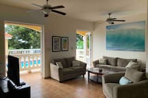 Main living space opens to pool deck.