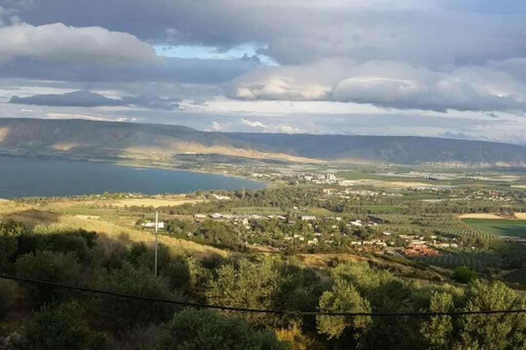 breathtaking view from the balcony to the southern tip of the Sea of Galilee and the Jordan Valley