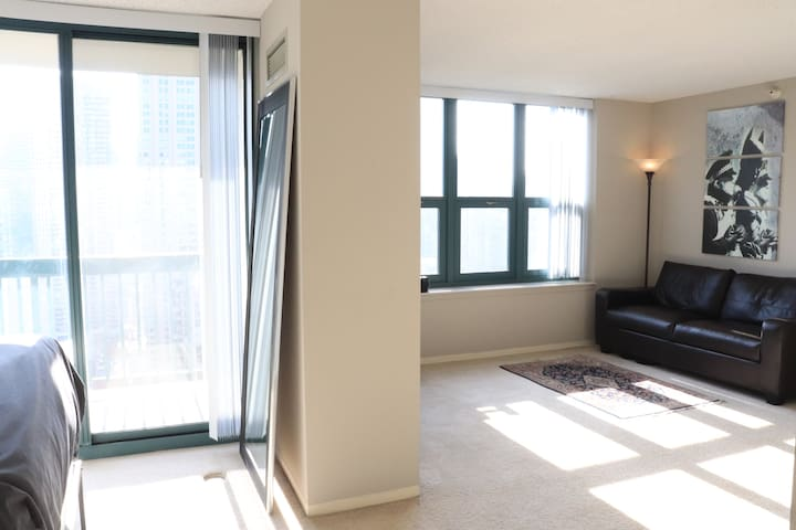 Large, 38th floor, luxury convertible studio with private balcony.