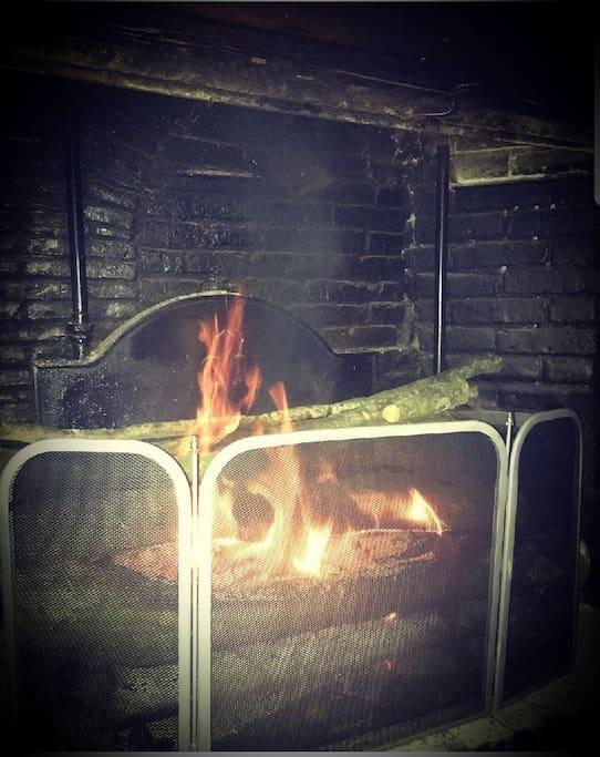 Feu de cheminée très convivial pour de longues discussions nocturnes