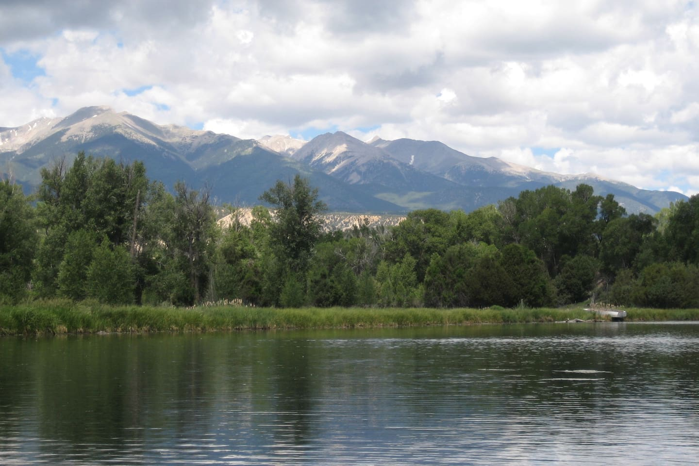 Stocked trout pond and breathtaking views of the Collegiate Peaks