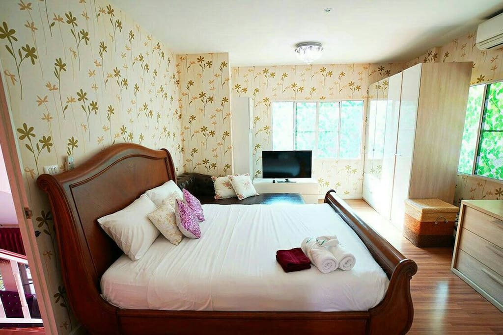 Bedroom 1 (Master bedroom) with Premium quality mattress for 2 guests, on 2nd floor