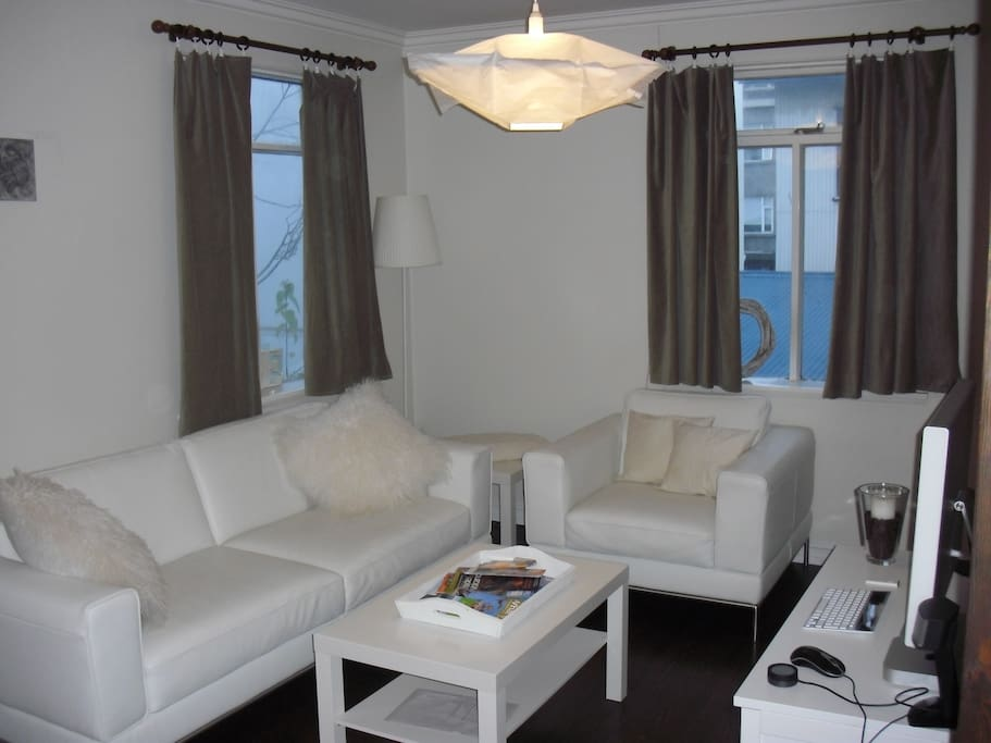 Living area, sofa and chair