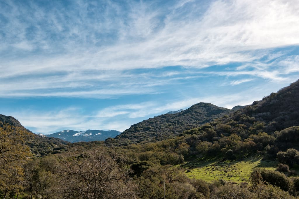 View from our property of the South entrance to Sequoia National Park
