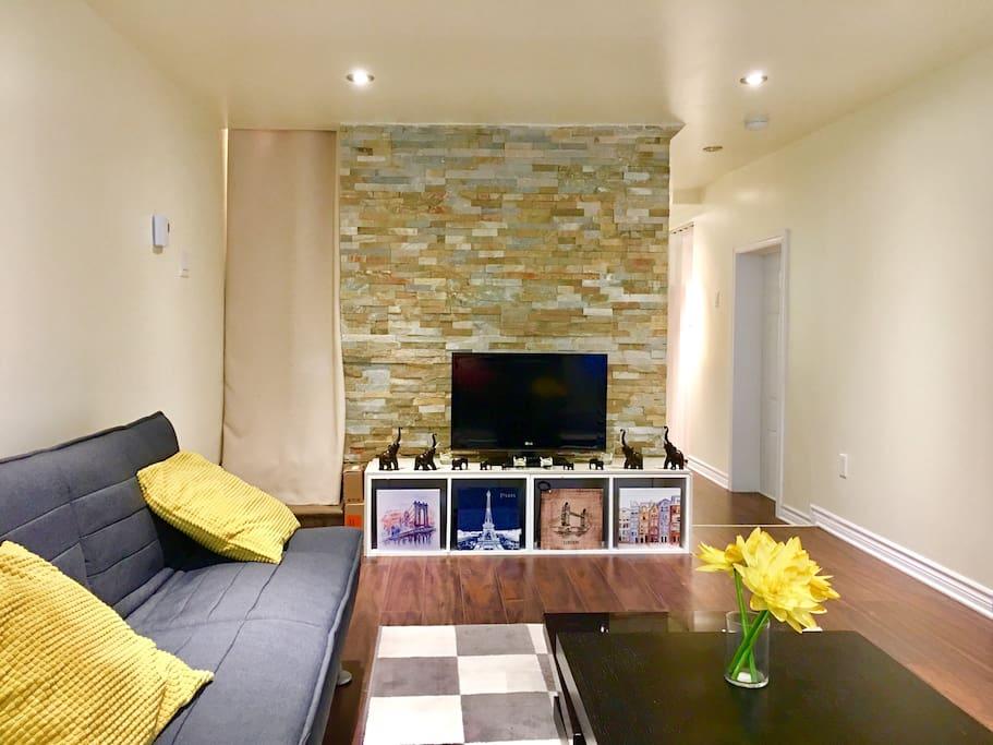 Living Room + Tv + Roku + Netflix