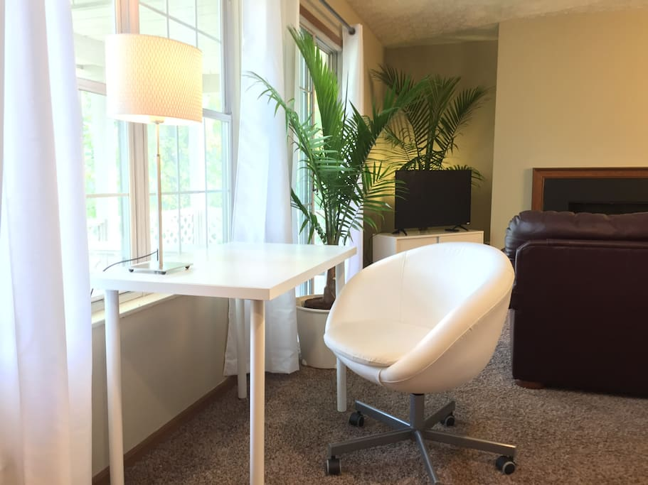 Desk with Comfortable leather chair