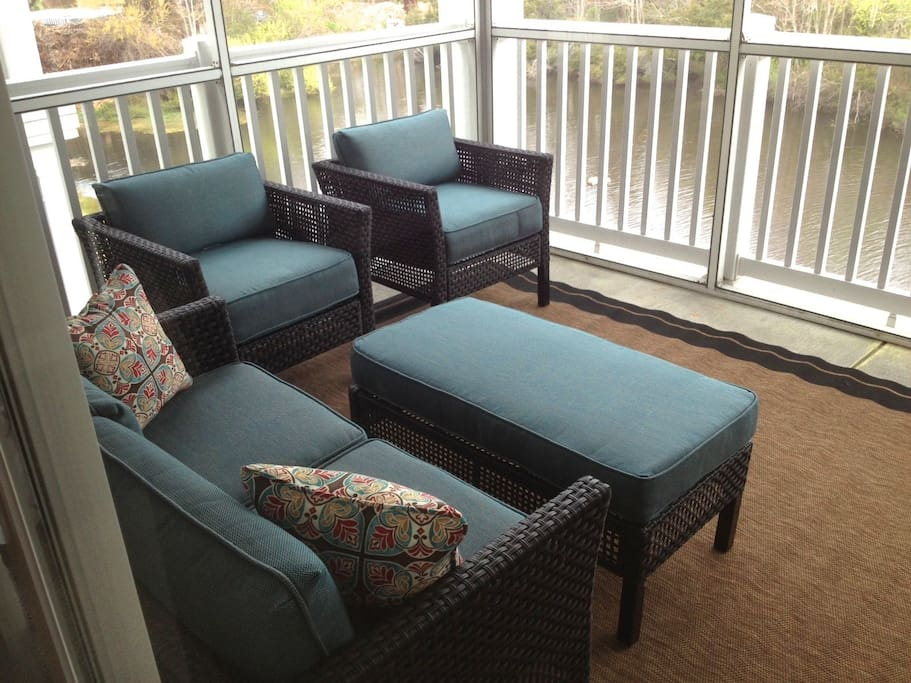 screened porch overlooking the pond