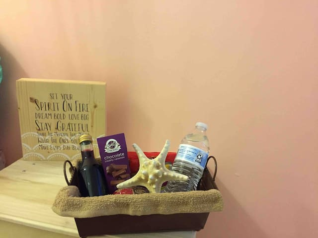 Complimentary welcome basket, enjoy. If there is a special occasion let us know.