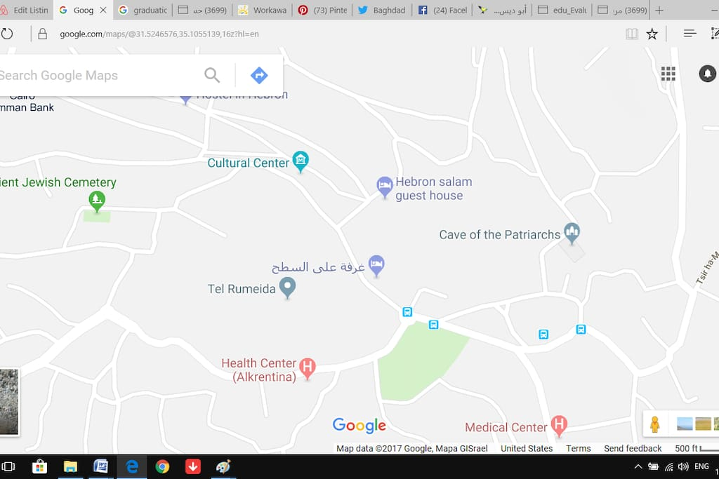 This is google map and shows exactly where my place is. My place is on the map but in Arabic, غرفة على السطح, and if you follow the map you can easily reach my place.