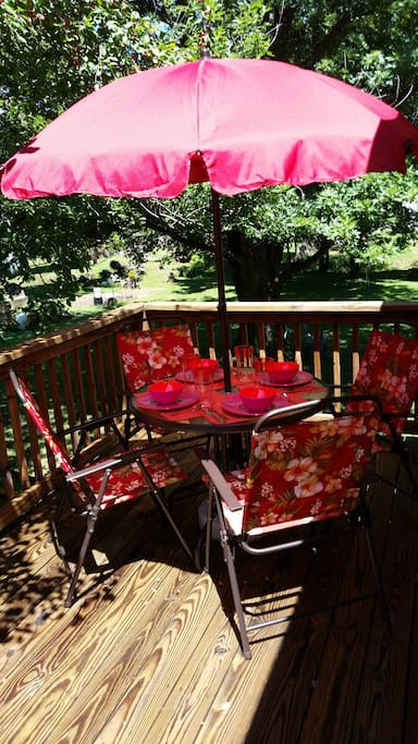 Patio furniture on the deck