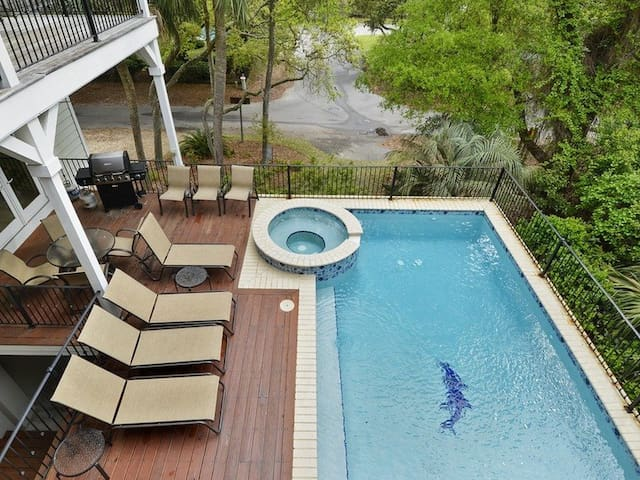 Large Deck with Pool and Hot Tub at 18 Heron