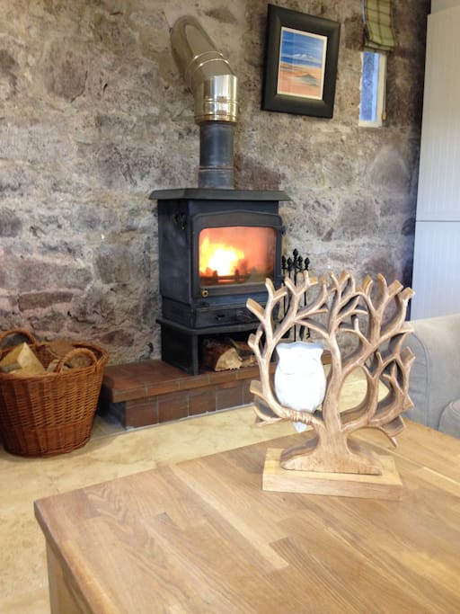 Wood burning fire perfect in Autumn and Winter.
