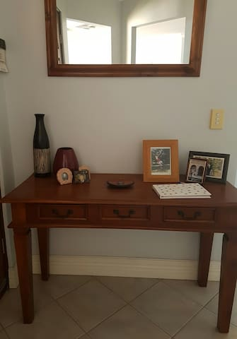 Entry hall stand with our Guests book that we love you to write in so we can remember your stay with us.