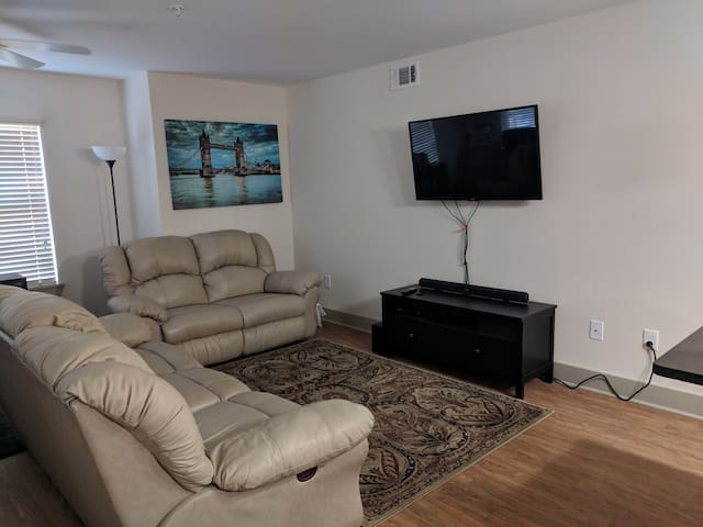 Living room with office area