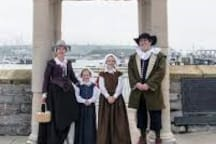 World famous Mayflower steps in Plymouth, big celebrations in 2020 marking 500 years, bus into Plymouth every 20 minutes!
