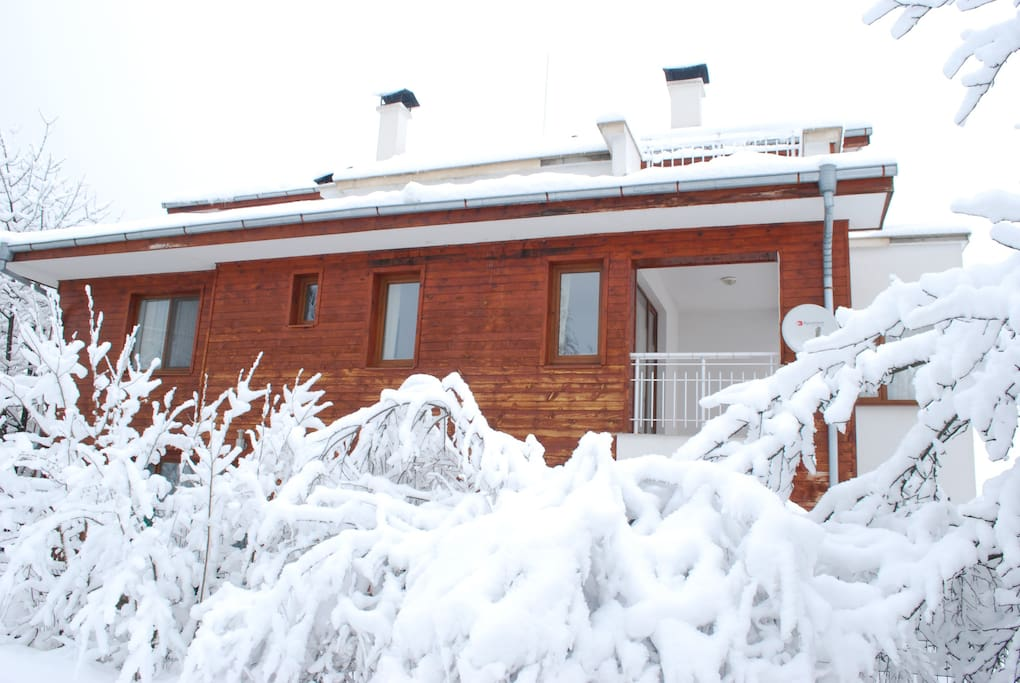 South fassade of the house winter time