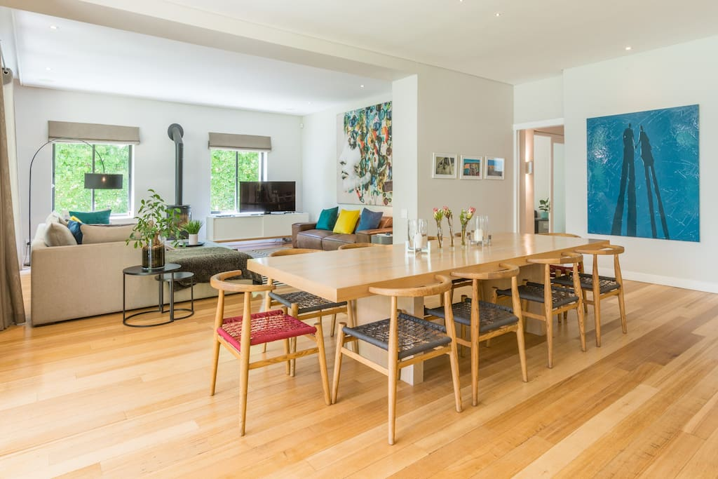 10 seater dining room table - open plan