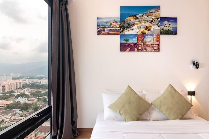 Bedroom 2 also overseeing the beautiful Penang heritage scene.
