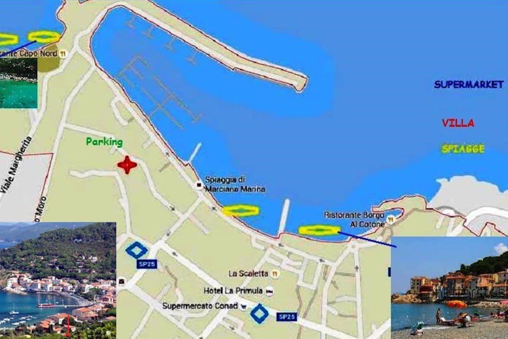 Village map and villa position.  Mappa del paese e posizione della villa.