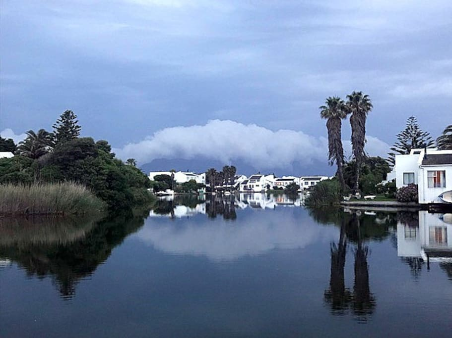 """Table Mountain's """"Blanket""""              Reflecting in the Water."""