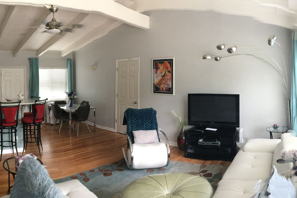 panoramic view of living rm & dining rm
