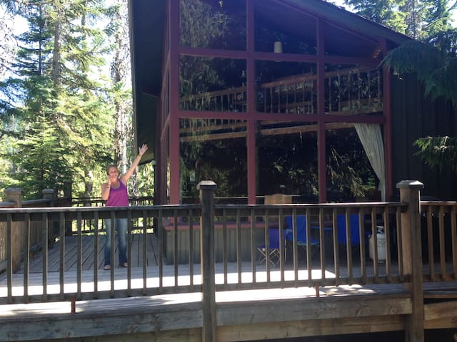 A view of the cabin from the north, during summertime (no snow). Mount Hood is directly behind me as I take this picture.
