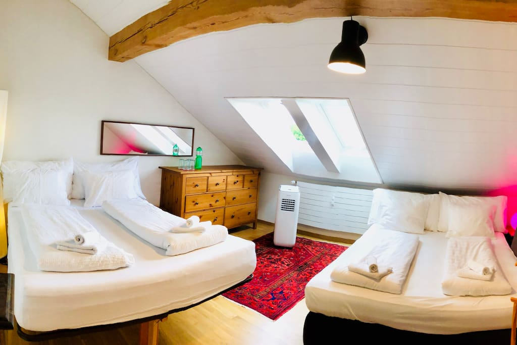 With friends and family room very comfortable climatized, cozy, 160 bed large with two Velux windows and