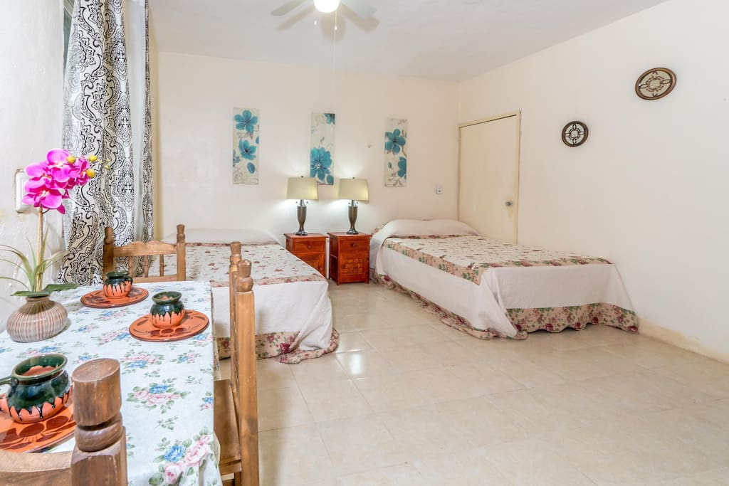 Quetzal Suite w/2 Queen size Beds, AC, Flat TV, Kitchenette, WiFi, Private Entrance & Bathroom.