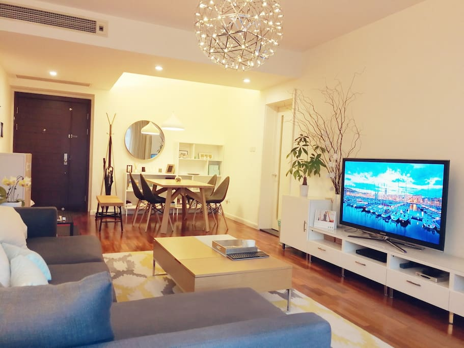 Living room is equipped with IQair air purifier