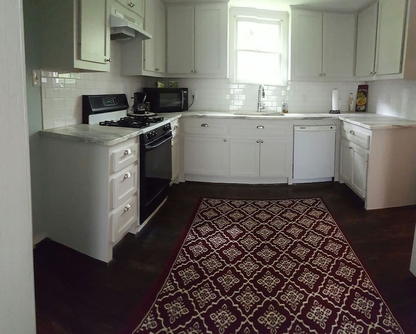 Kitchen, Microwave, toaster oven, oven, cooktop, coffee,fridge