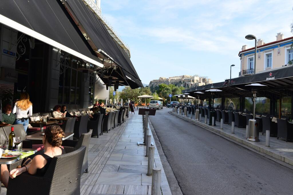Pedestrian street of the  Acropolis is only 4 minutes walking