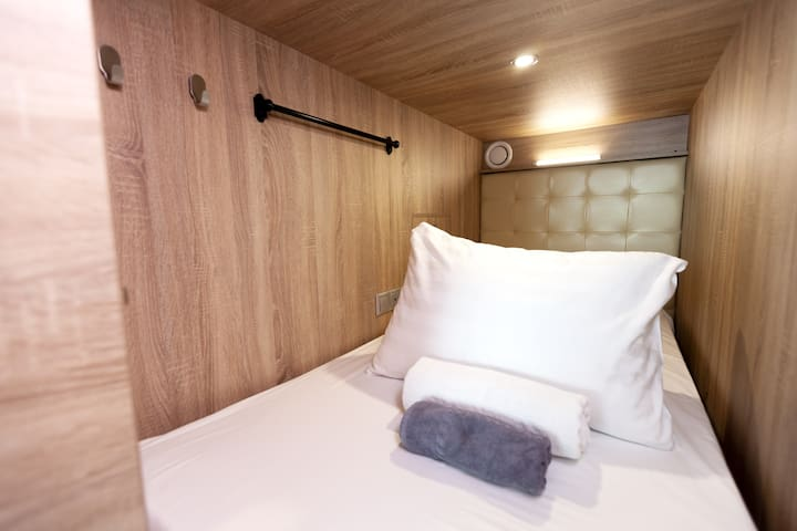 Women's capsule in capsule hotel on 52nd floor!