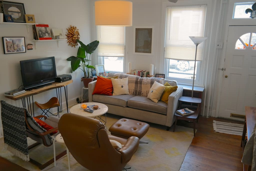 Living room is open and welcome to visitors! Take a break from site-seeing or working and kick up your feet.