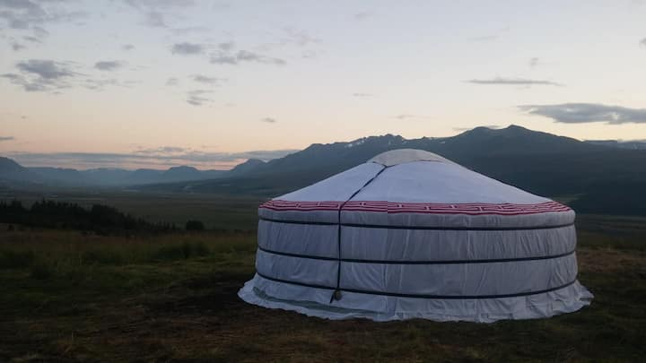 Stay in a yurt just outside Akureyri, great view