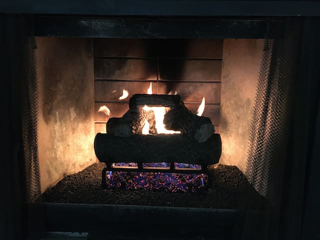 Enjoy the warmth of a fireplace