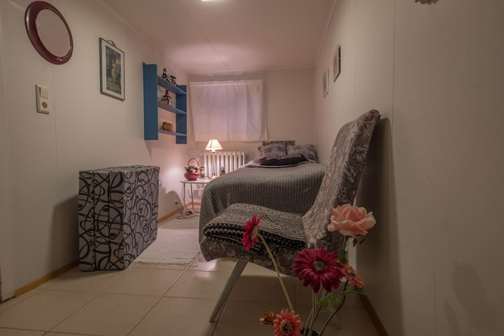 The bedroom in the cellar with single bed but also is possible to place there a guest bed. A mattress is also in the cellar you see in the picture.