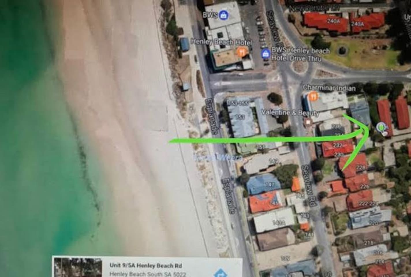 140 metres from the Beachfront. 700 metre walk along foreshore to popular Henley Square restaurants and cafes.