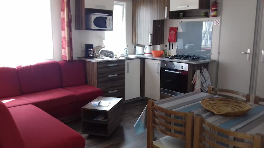 Mobil home climatisé 4/6 pers camping 4* animé