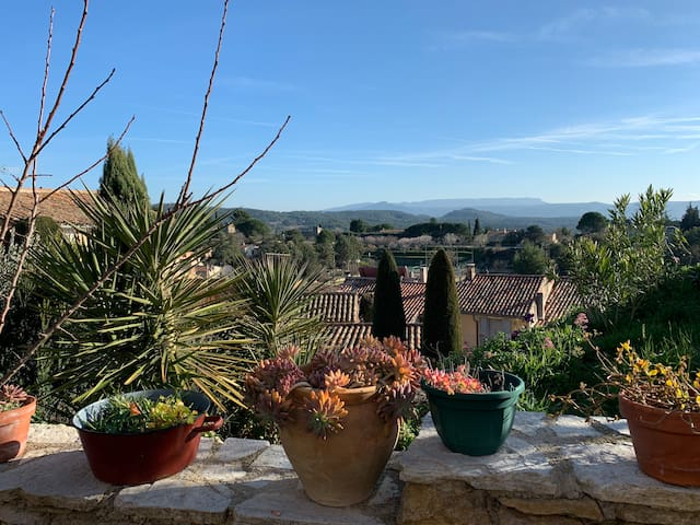 Village home with stunning views of the Luberon.