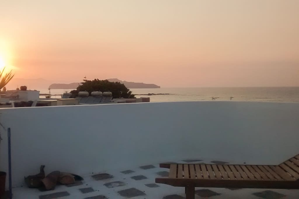 A 200 sq.m. beautiful roof garden with an amazing view just steps from the sea. Just stay relaxed during your evening siestas enjoying your cocktails on our roof garden listening to the sound of the sea and feeling the salty summer Cretan breeze caressing your body