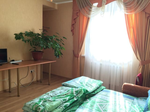 Гостевая комната с ТВ и удобным диваном-кроватью.