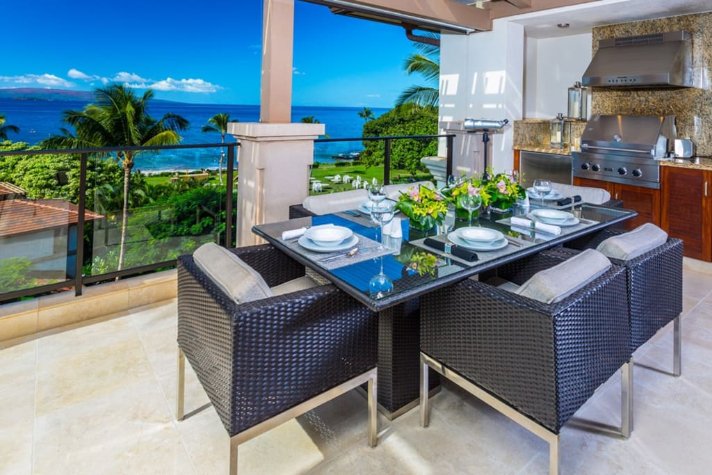 Panoramic Ocean Front View Terrace Dining w/ Grill