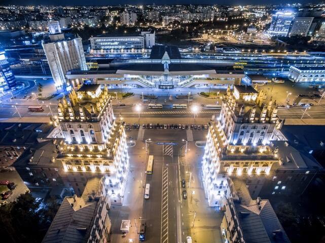 Центр, стадион Динамо, вокзал