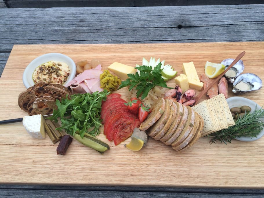 Our gourmet platter are prepared by our live in chef -Tom.  They are $60 and serve 2 as a meal.