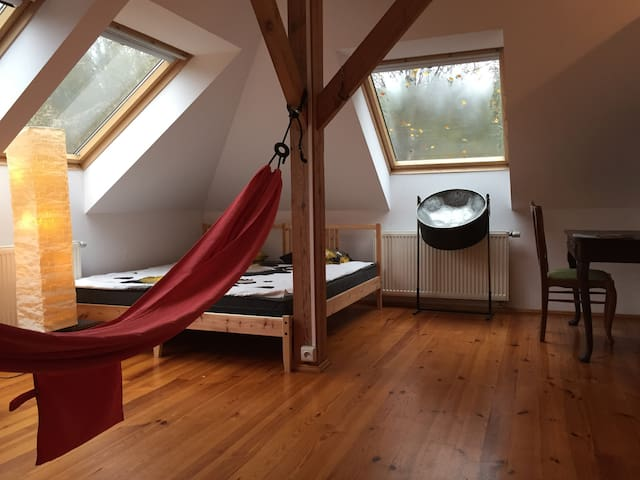Room 1-3 persons, hammocks, chimney - beautiful - Wilcza Wólka - Dům