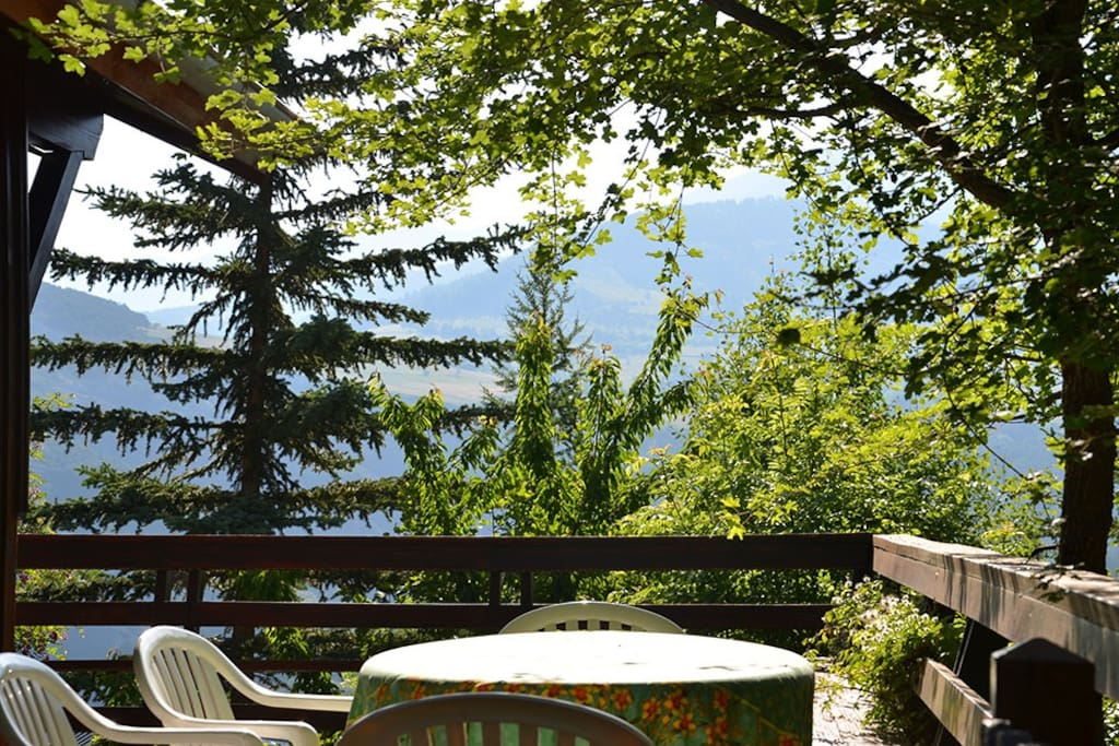 Table on the deck with a nice view of the Ubaye valley
