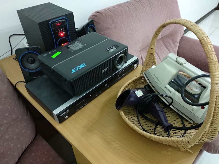 Shared area: Projector, DVD player, Radio, Iron, Hair Dryer