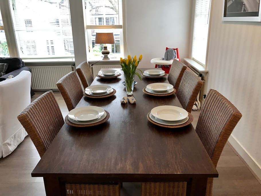 Large wooden dining table.