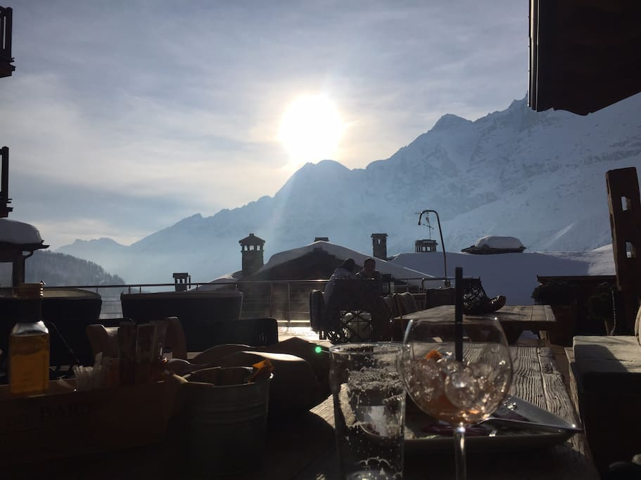 The view from the terasse at the restaurant next door