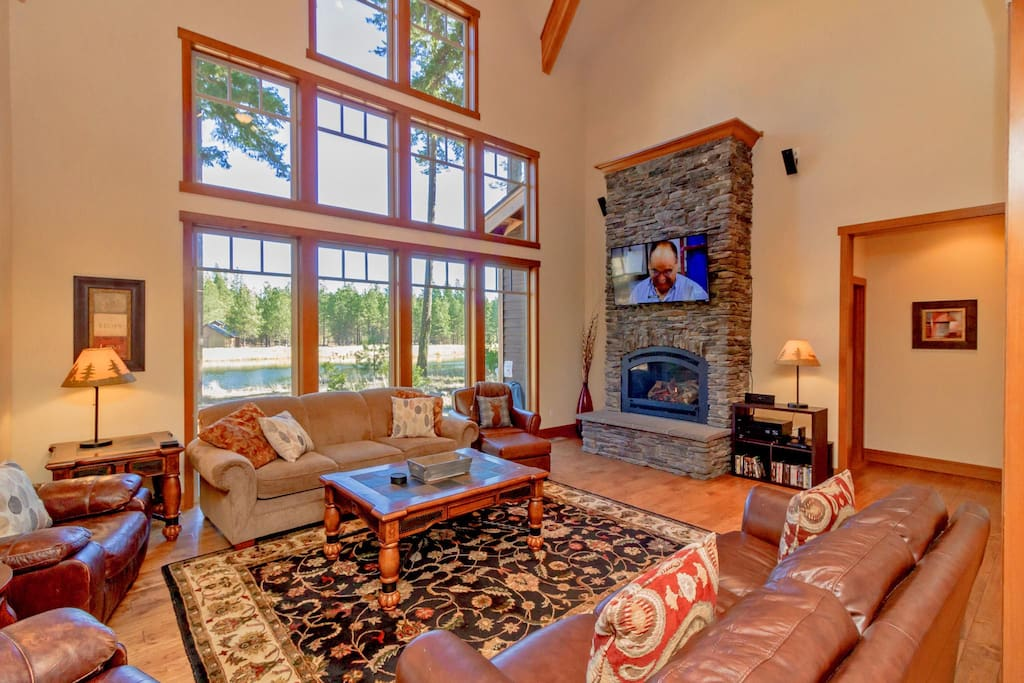 Ledge-stone gas fireplace and a large flat-screen with Dish, Blu-Ray, and surround sound!